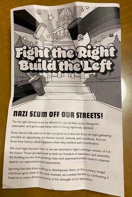Antifa leaflet in Denver, June 2021
