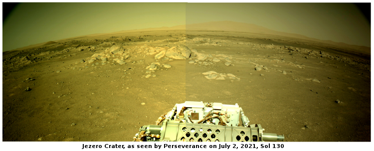 Panorama by Perseverance, Sol 130, July 2, 2021