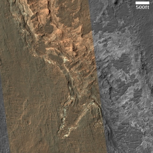 Peeling thin layers on Mars