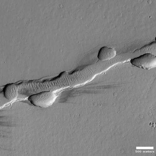 Chain of sinkholes on Mars