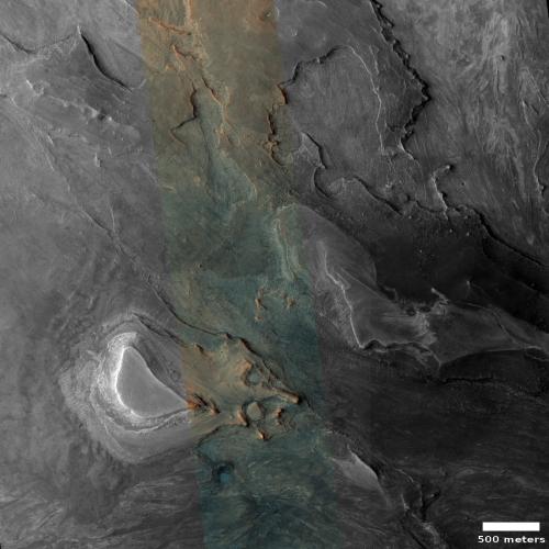 Color dry mesas on Mars