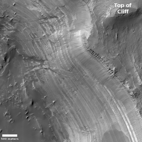 Layered cliff in Valles Marineris