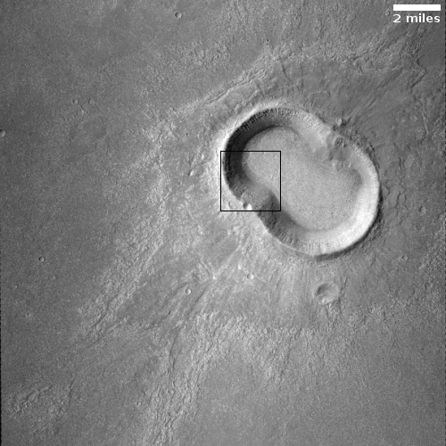 Context camera image of peanut-shaped crater