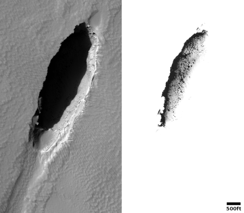 Inactive volcanic vent on Mars